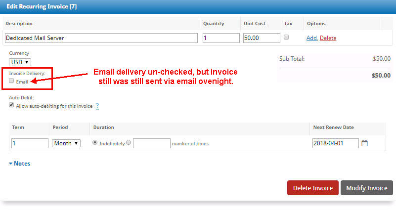Invoice Emailed When That Option UNchecked Support Blesta - Emailed invoice