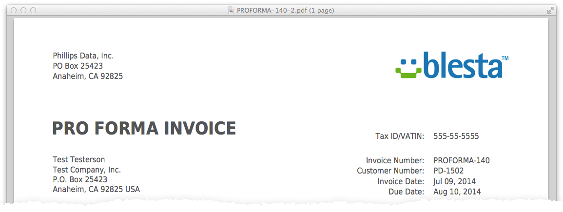 blesta 3.3 feature preview - pro forma invoices | blesta, Invoice examples
